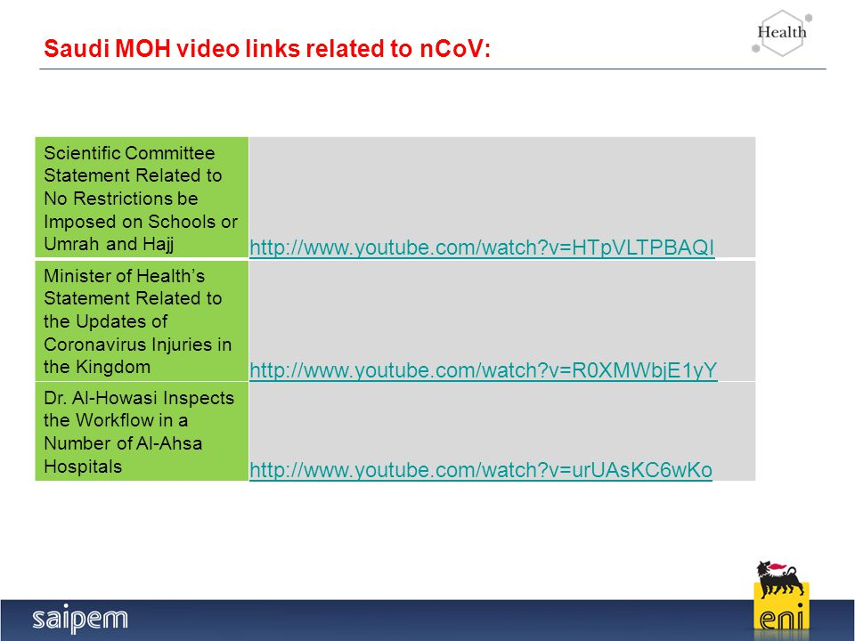 5 Saudi MOH video links related to nCoV: Scientific Committee Statement Related to No Restrictions be Imposed on Schools or Umrah and Hajj http://www.