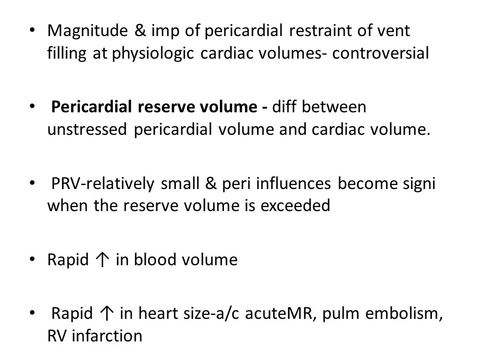 Pathophysiology Rigid, scarred pericardium encircles heart: Systolic contraction normal Inhibits diastolic filling of both ventricles  SV  venous pressures  COsystemic pulmonary congestion Hypotension/shock ↑ JVP rales Reflex tachycardiahepatomegaly ascites peripheral edema