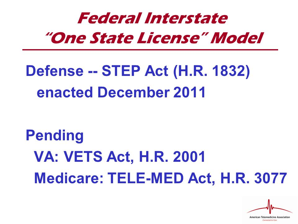 Federal Interstate One State License Model Defense -- STEP Act (H.R.