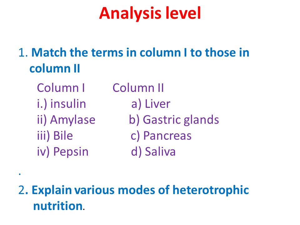Analysis level 1.