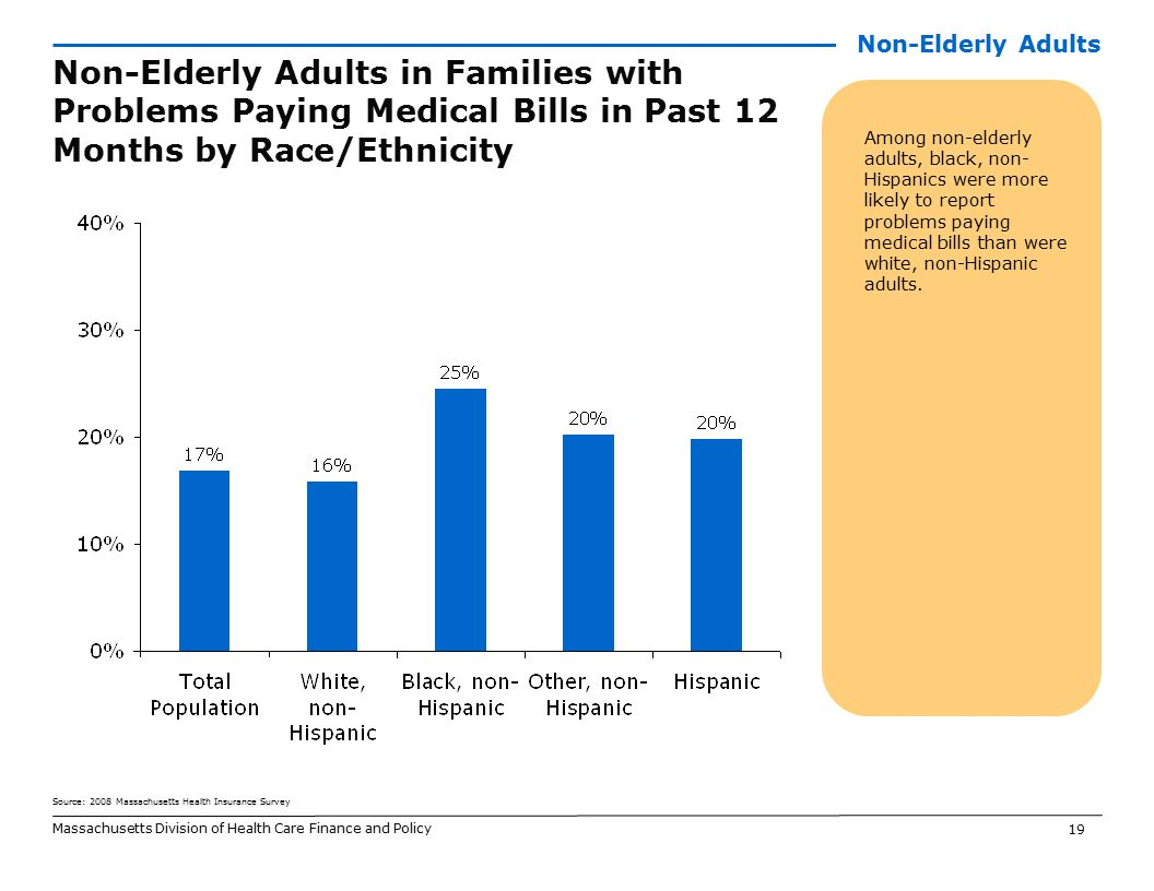 19 Massachusetts Division of Health Care Finance and Policy Non-Elderly Adults in Families with Problems Paying Medical Bills in Past 12 Months by Race/Ethnicity Among non-elderly adults, black, non- Hispanics were more likely to report problems paying medical bills than were white, non-Hispanic adults.