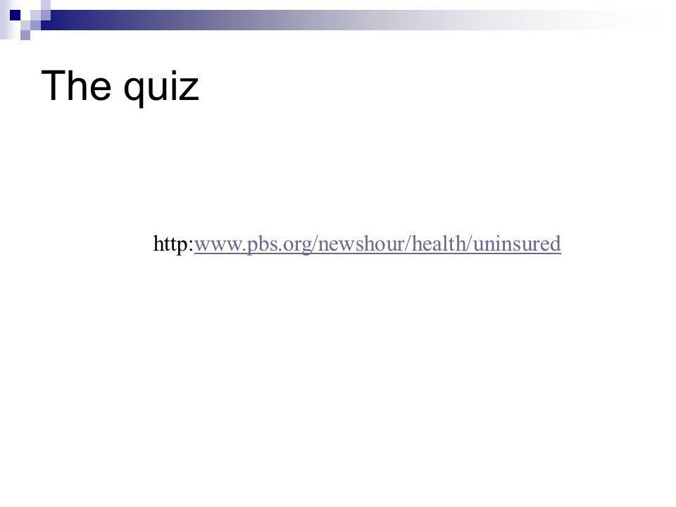 The quiz http:www.pbs.org/newshour/health/uninsuredwww.pbs.org/newshour/health/uninsured