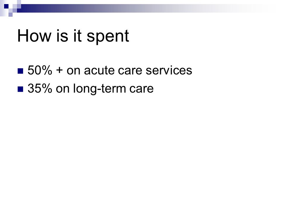 How is it spent 50% + on acute care services 35% on long-term care