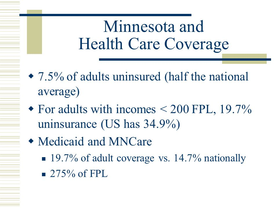 Minnesota and Health Care Coverage  7.5% of adults uninsured (half the national average)  For adults with incomes < 200 FPL, 19.7% uninsurance (US has 34.9%)  Medicaid and MNCare 19.7% of adult coverage vs.