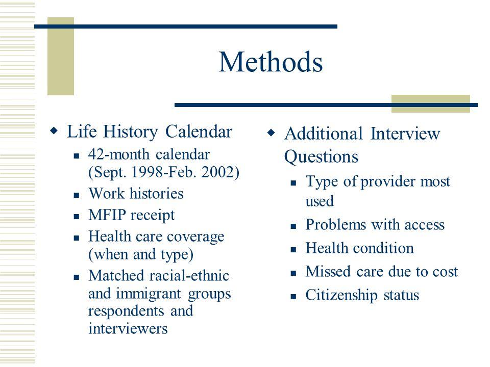 Methods  Life History Calendar 42-month calendar (Sept.
