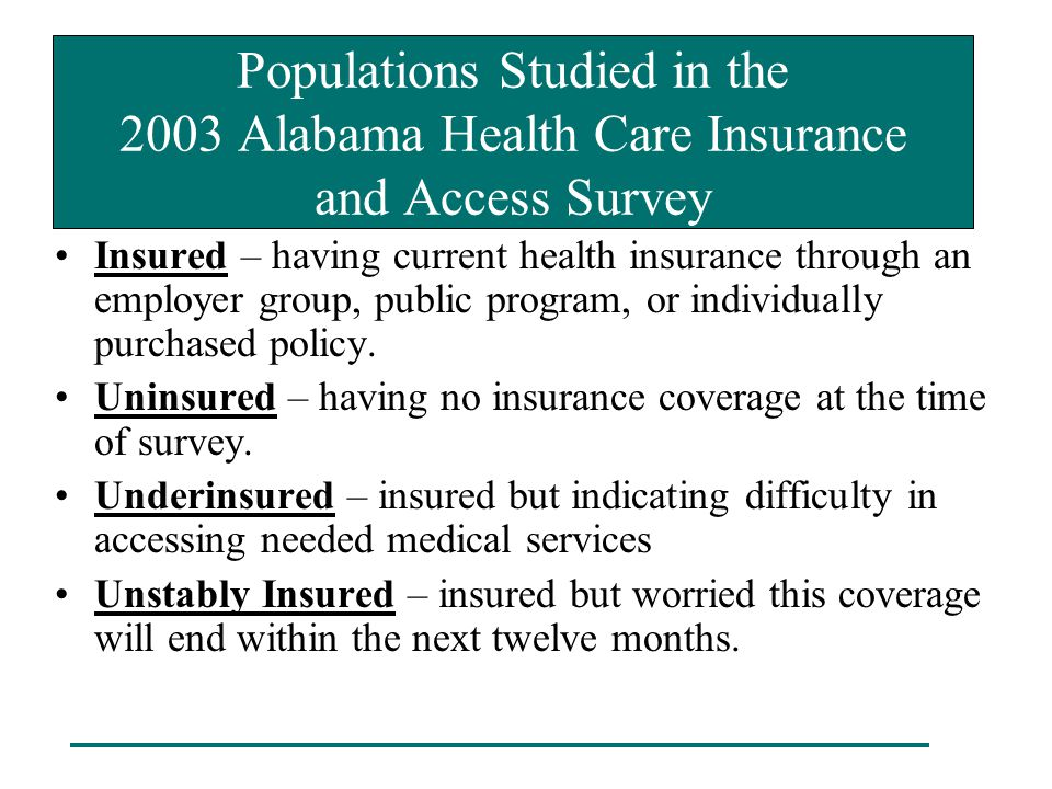 Populations Studied in the 2003 Alabama Health Care Insurance and Access Survey Insured – having current health insurance through an employer group, p
