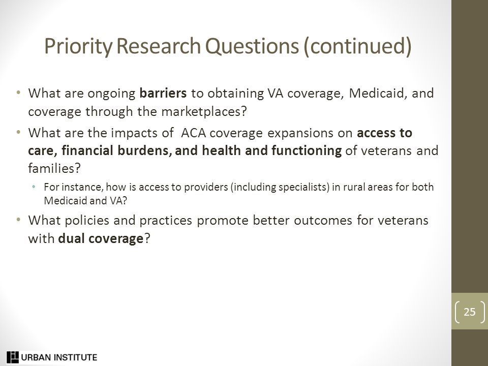 More Information Uninsured Veterans and Family Members: State and National Estimates of Expanded Medicaid Eligibility under the ACA. 2013.