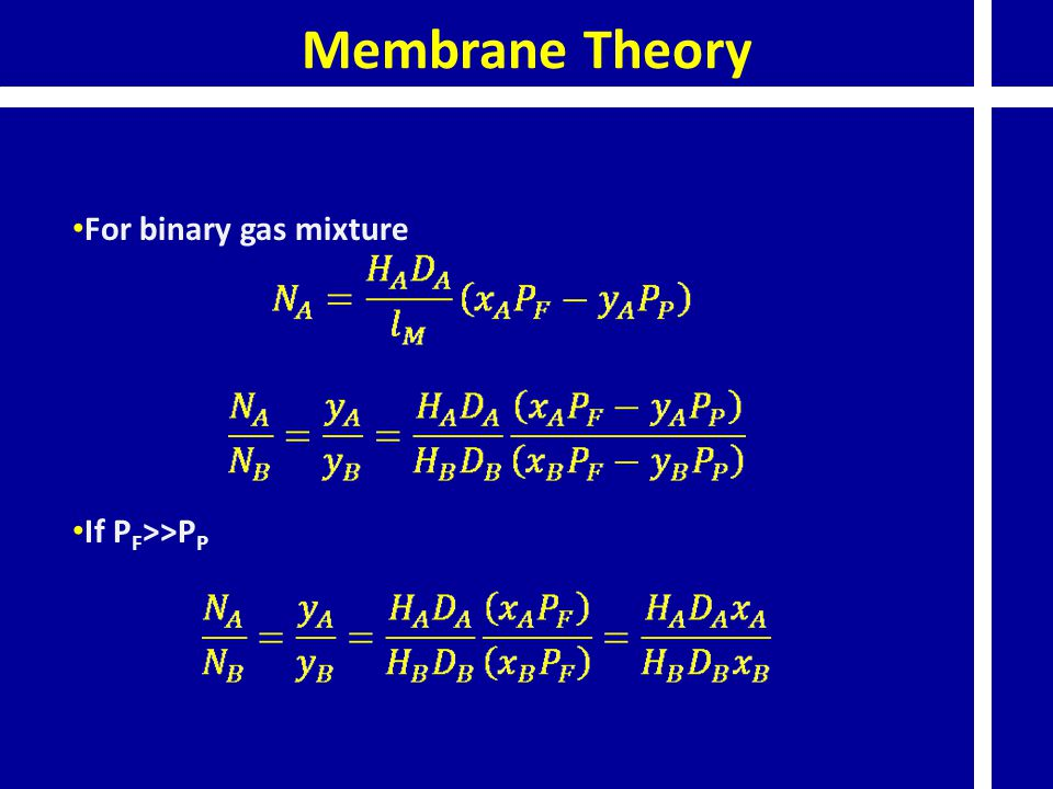 Membrane Theory For binary gas mixture If P F >>P P