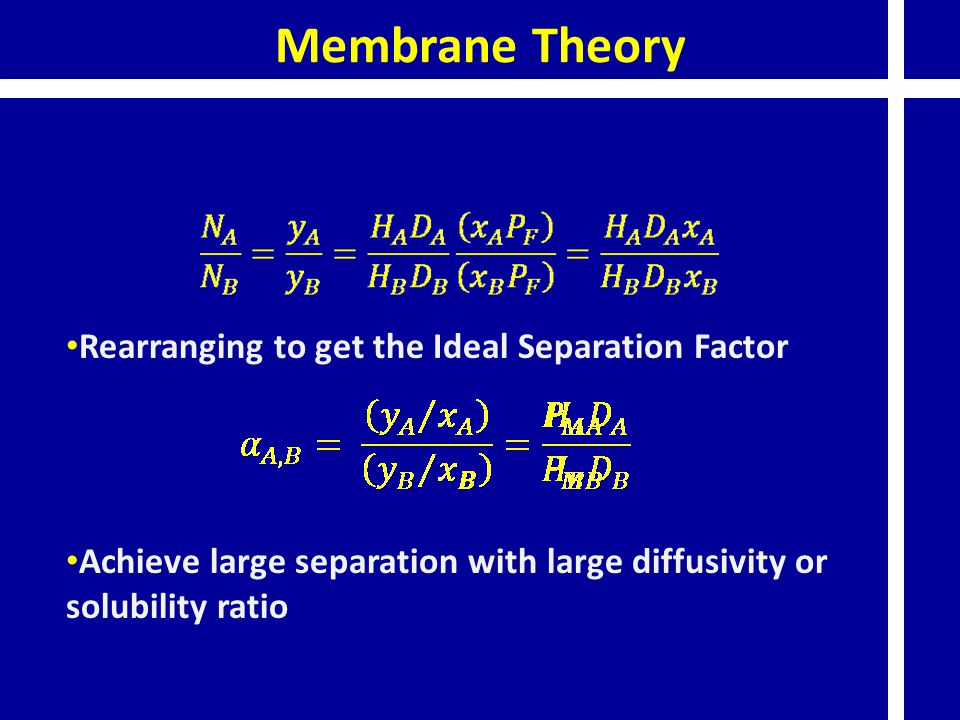 Membrane Theory Rearranging to get the Ideal Separation Factor Achieve large separation with large diffusivity or solubility ratio