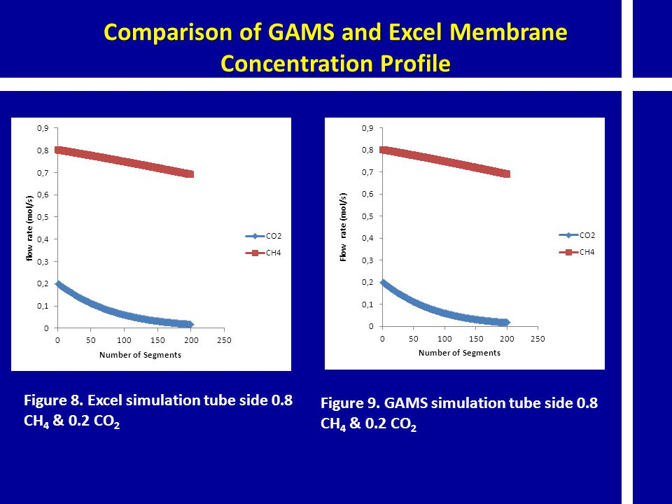 Comparison of GAMS and Excel Membrane Concentration Profile Figure 8. Excel simulation tube side 0.8 CH 4 & 0.2 CO 2 Figure 9. GAMS simulation tube si