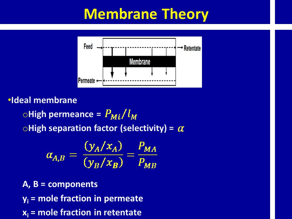 Membrane Theory Ideal membrane o High permeance = o High separation factor (selectivity) = A, B = components y i = mole fraction in permeate x i = mole fraction in retentate