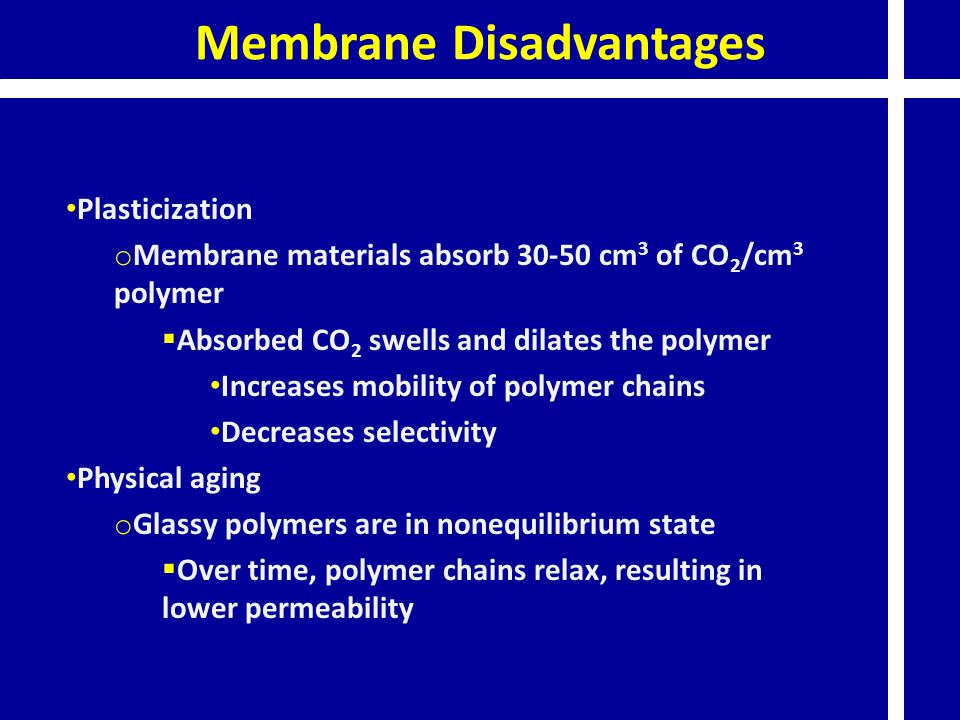 Membrane Disadvantages Plasticization o Membrane materials absorb 30-50 cm 3 of CO 2 /cm 3 polymer  Absorbed CO 2 swells and dilates the polymer Increases mobility of polymer chains Decreases selectivity Physical aging o Glassy polymers are in nonequilibrium state  Over time, polymer chains relax, resulting in lower permeability