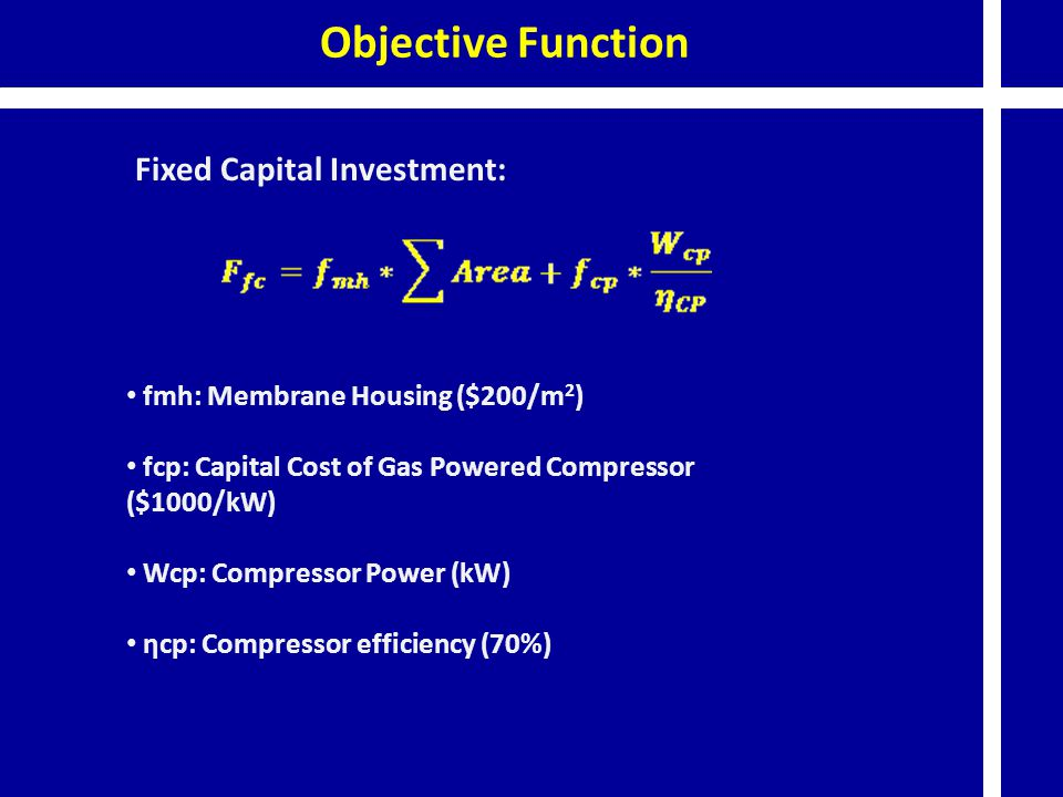 Objective Function Fixed Capital Investment: fmh: Membrane Housing ($200/m 2 ) fcp: Capital Cost of Gas Powered Compressor ($1000/kW) Wcp: Compressor Power (kW) ηcp: Compressor efficiency (70%)