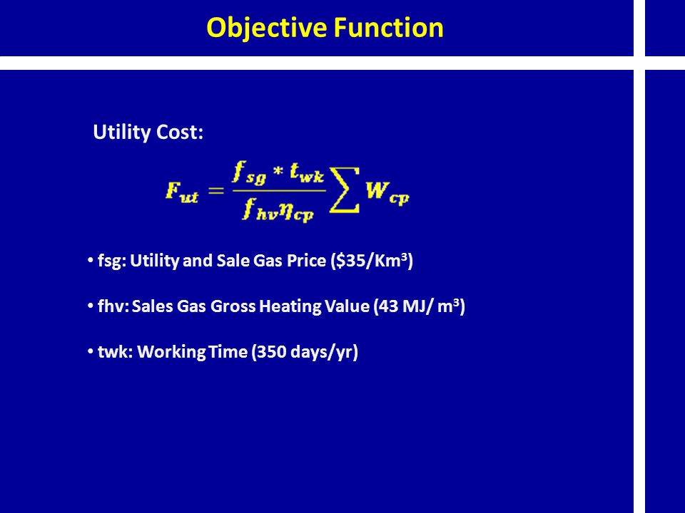 Objective Function Utility Cost: fsg: Utility and Sale Gas Price ($35/Km 3 ) fhv: Sales Gas Gross Heating Value (43 MJ/ m 3 ) twk: Working Time (350 d