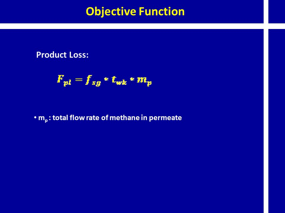 Objective Function Product Loss: m p : total flow rate of methane in permeate