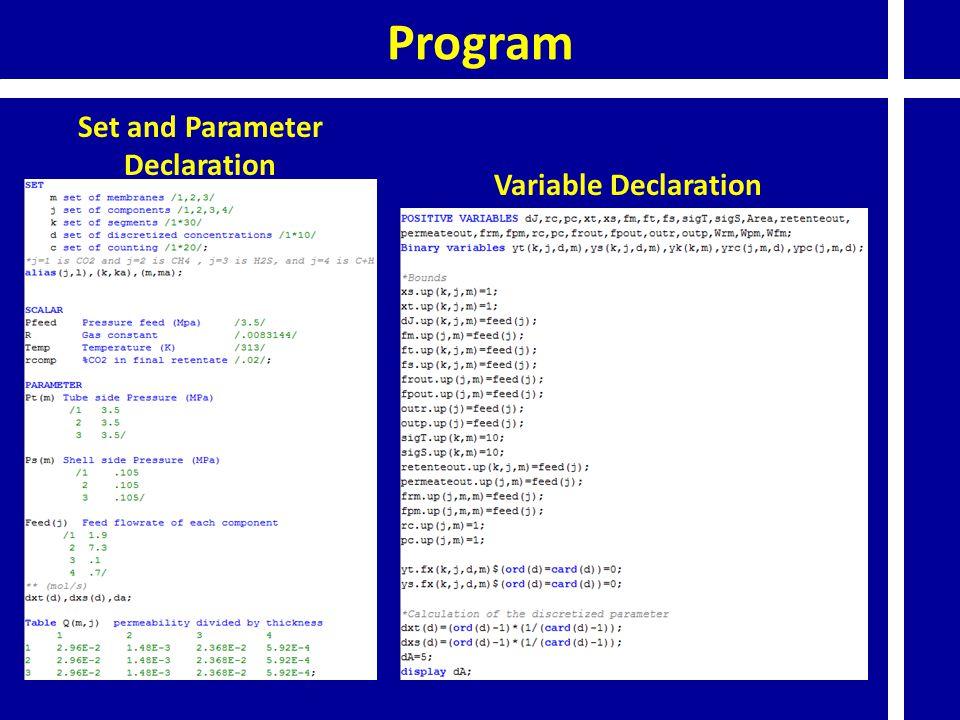 Program Set and Parameter Declaration Variable Declaration