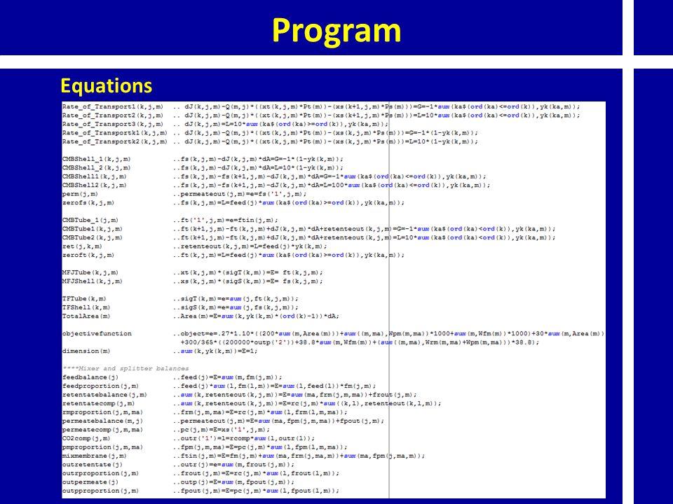 Program Equations