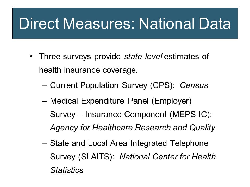 Direct Measures: National Data Three surveys provide state-level estimates of health insurance coverage.