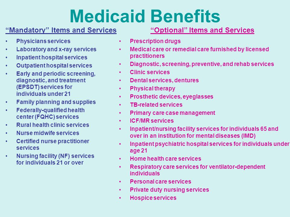 Medicaid Benefits Physicians services Laboratory and x-ray services Inpatient hospital services Outpatient hospital services Early and periodic screening, diagnostic, and treatment (EPSDT) services for individuals under 21 Family planning and supplies Federally-qualified health center (FQHC) services Rural health clinic services Nurse midwife services Certified nurse practitioner services Nursing facility (NF) services for individuals 21 or over Prescription drugs Medical care or remedial care furnished by licensed practitioners Diagnostic, screening, preventive, and rehab services Clinic services Dental services, dentures Physical therapy Prosthetic devices, eyeglasses TB-related services Primary care case management ICF/MR services Inpatient/nursing facility services for individuals 65 and over in an institution for mental diseases (IMD) Inpatient psychiatric hospital services for individuals under age 21 Home health care services Respiratory care services for ventilator-dependent individuals Personal care services Private duty nursing services Hospice services Mandatory Items and Services Optional Items and Services