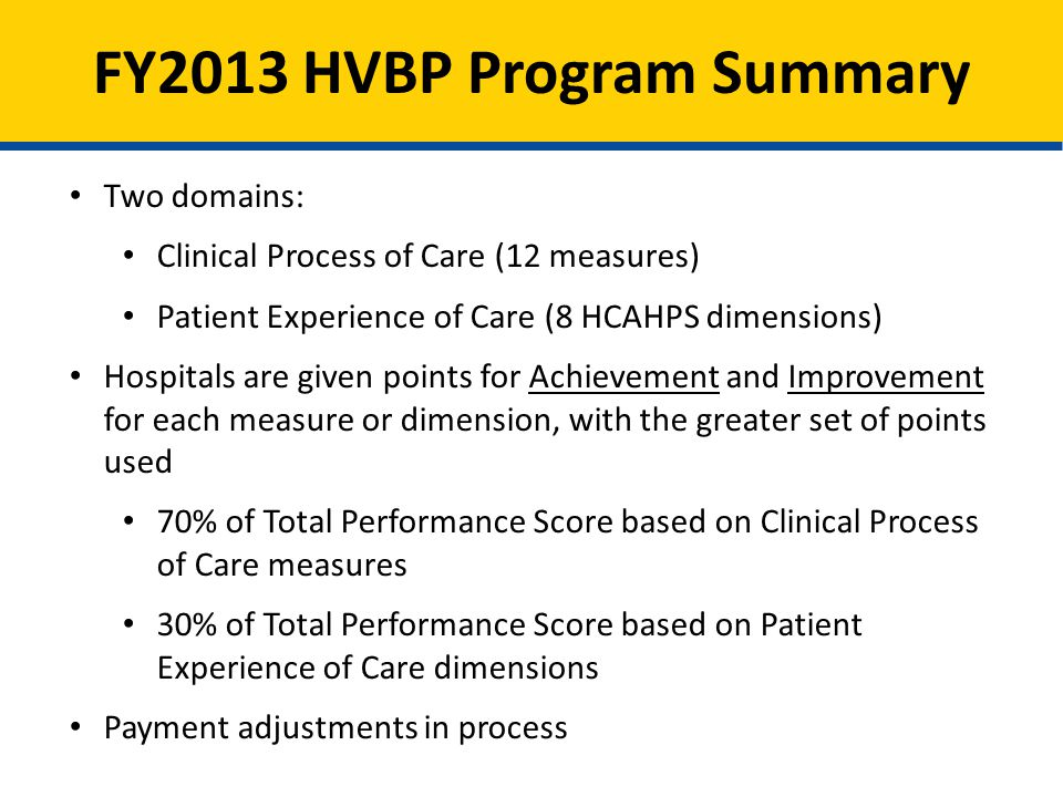 FY2013 HVBP Program Summary Two domains: Clinical Process of Care (12 measures) Patient Experience of Care (8 HCAHPS dimensions) Hospitals are given points for Achievement and Improvement for each measure or dimension, with the greater set of points used 70% of Total Performance Score based on Clinical Process of Care measures 30% of Total Performance Score based on Patient Experience of Care dimensions Payment adjustments in process