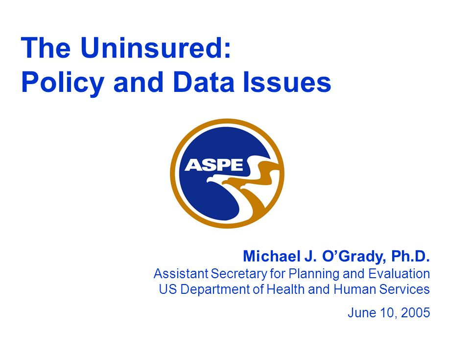 The Uninsured: Policy and Data Issues Michael J. O'Grady, Ph.D.
