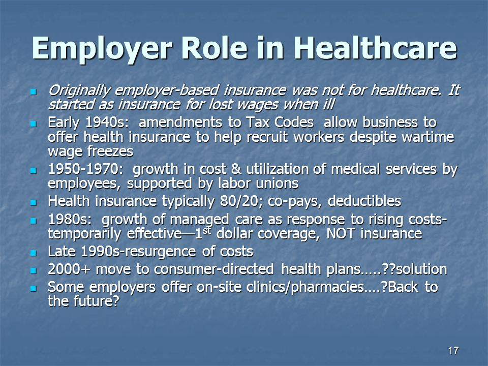 17 Employer Role in Healthcare Originally employer-based insurance was not for healthcare. It started as insurance for lost wages when ill Originally