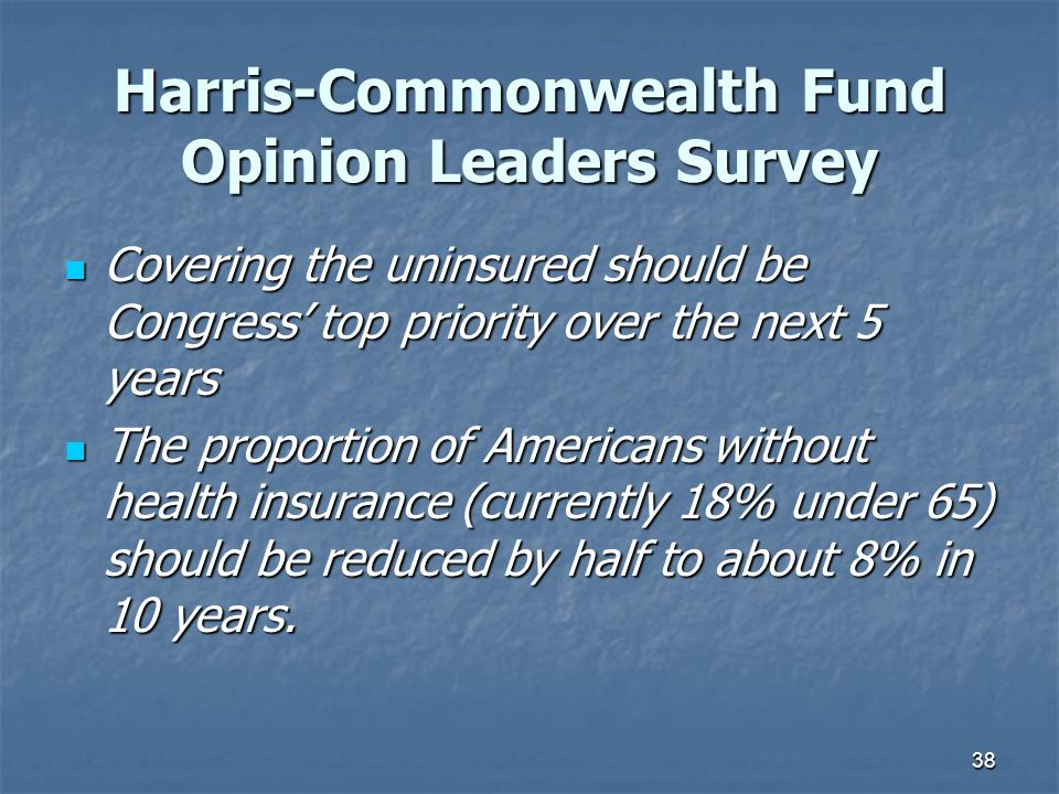 38 Harris-Commonwealth Fund Opinion Leaders Survey Covering the uninsured should be Congress' top priority over the next 5 years Covering the uninsure
