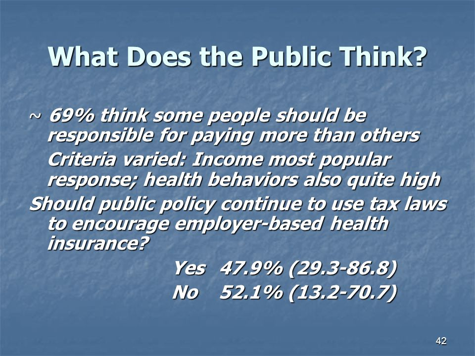 42 What Does the Public Think? ~ 69% think some people should be responsible for paying more than others Criteria varied: Income most popular response