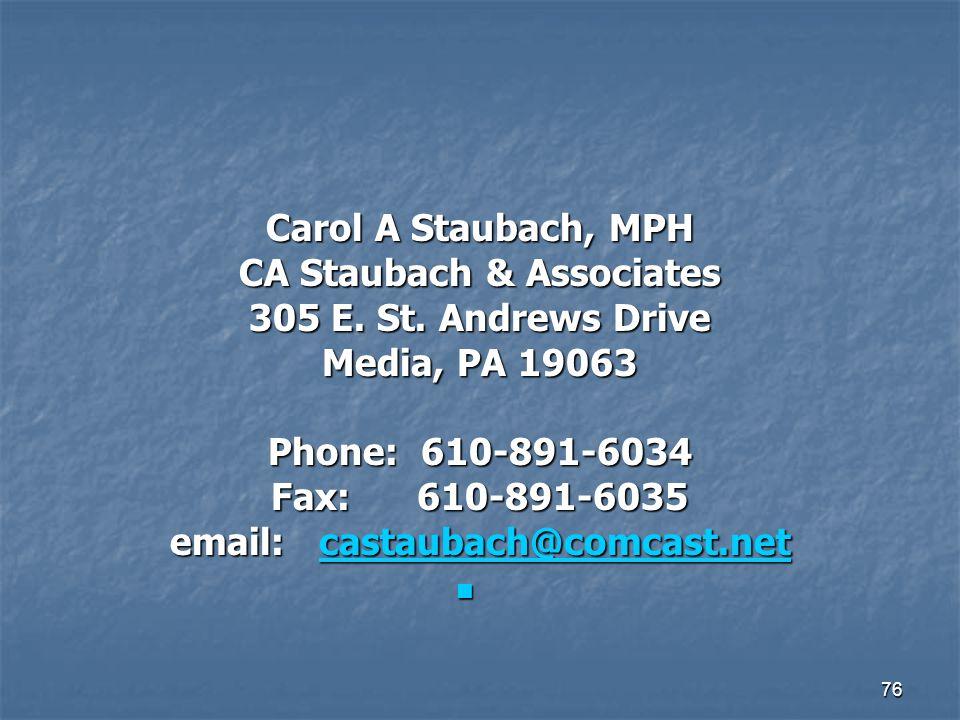 76 Carol A Staubach, MPH CA Staubach & Associates 305 E. St. Andrews Drive Media, PA 19063 Phone: 610-891-6034 Fax: 610-891-6035 email: castaubach@com