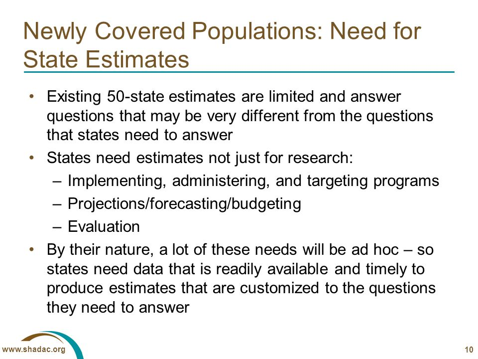 www.shadac.org Newly Covered Populations: Need for State Estimates Existing 50-state estimates are limited and answer questions that may be very different from the questions that states need to answer States need estimates not just for research: –Implementing, administering, and targeting programs –Projections/forecasting/budgeting –Evaluation By their nature, a lot of these needs will be ad hoc – so states need data that is readily available and timely to produce estimates that are customized to the questions they need to answer 10