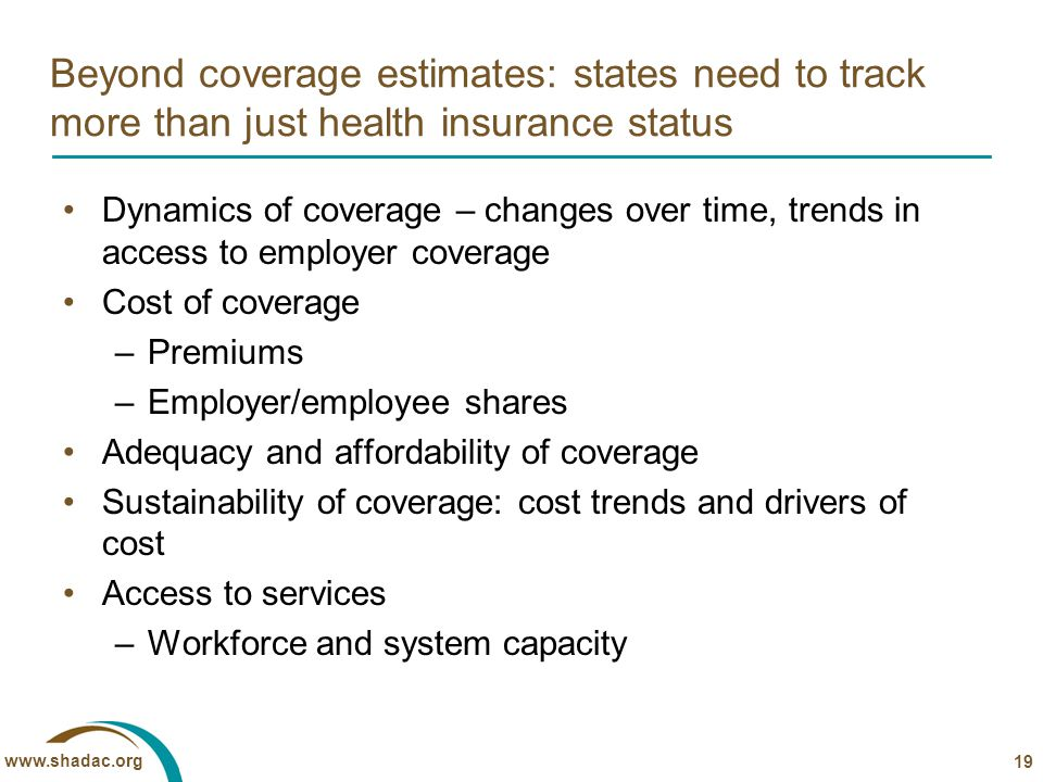www.shadac.org Beyond coverage estimates: states need to track more than just health insurance status Dynamics of coverage – changes over time, trends in access to employer coverage Cost of coverage –Premiums –Employer/employee shares Adequacy and affordability of coverage Sustainability of coverage: cost trends and drivers of cost Access to services –Workforce and system capacity 19
