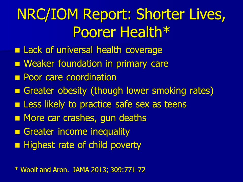 NRC/IOM Report: Shorter Lives, Poorer Health* Lack of universal health coverage Lack of universal health coverage Weaker foundation in primary care Weaker foundation in primary care Poor care coordination Poor care coordination Greater obesity (though lower smoking rates) Greater obesity (though lower smoking rates) Less likely to practice safe sex as teens Less likely to practice safe sex as teens More car crashes, gun deaths More car crashes, gun deaths Greater income inequality Greater income inequality Highest rate of child poverty Highest rate of child poverty * Woolf and Aron.