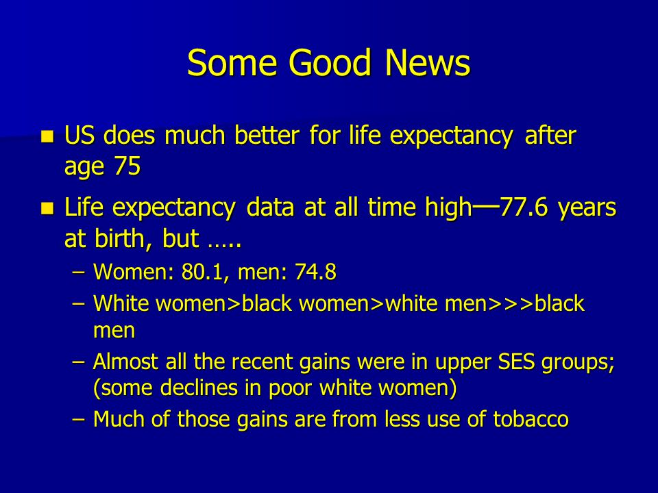 Some Good News US does much better for life expectancy after age 75 US does much better for life expectancy after age 75 Life expectancy data at all time high — 77.6 years at birth, but …..