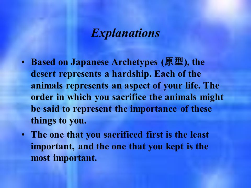 Explanations Based on Japanese Archetypes ( 原型 ), the desert represents a hardship. Each of the animals represents an aspect of your life. The order i