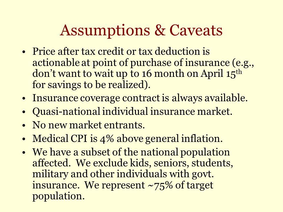 Assumptions & Caveats Price after tax credit or tax deduction is actionable at point of purchase of insurance (e.g., don't want to wait up to 16 month
