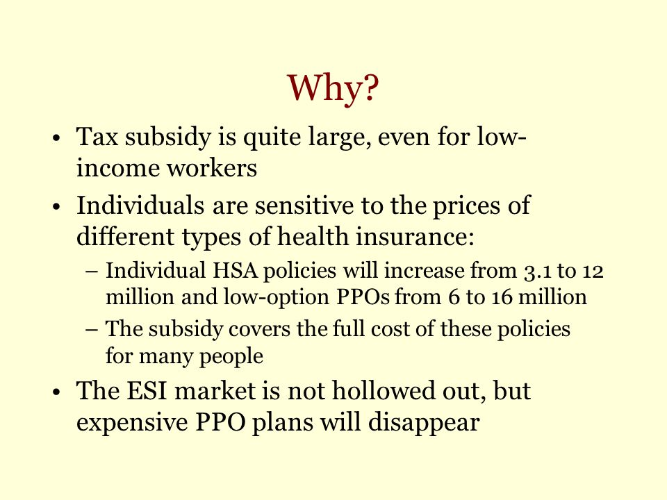 Why? Tax subsidy is quite large, even for low- income workers Individuals are sensitive to the prices of different types of health insurance: –Individ