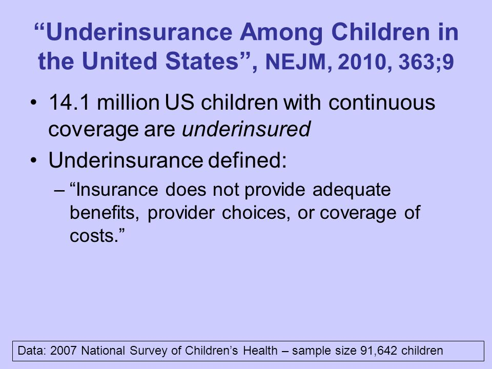 Underinsurance Among Children in the United States , NEJM, 2010, 363;9 14.1 million US children with continuous coverage are underinsured Underinsurance defined: – Insurance does not provide adequate benefits, provider choices, or coverage of costs. Data: 2007 National Survey of Children's Health – sample size 91,642 children