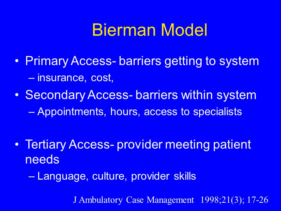 Bierman Model Primary Access- barriers getting to system –insurance, cost, Secondary Access- barriers within system –Appointments, hours, access to specialists Tertiary Access- provider meeting patient needs –Language, culture, provider skills J Ambulatory Case Management 1998;21(3); 17-26