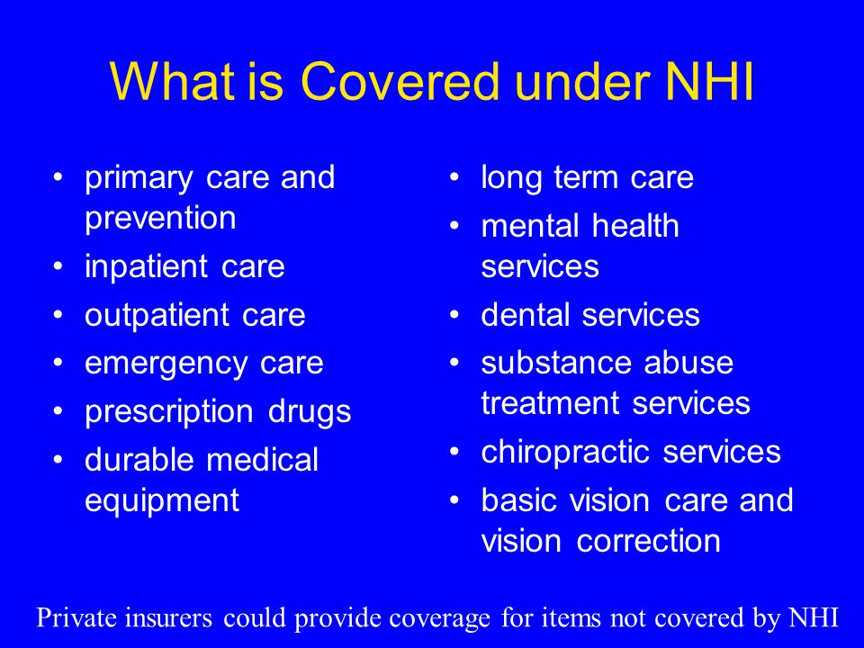 What is Covered under NHI primary care and prevention inpatient care outpatient care emergency care prescription drugs durable medical equipment long term care mental health services dental services substance abuse treatment services chiropractic services basic vision care and vision correction Private insurers could provide coverage for items not covered by NHI