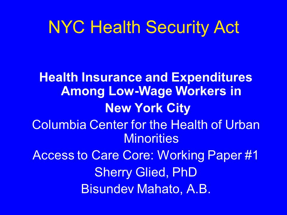 NYC Health Security Act Health Insurance and Expenditures Among Low-Wage Workers in New York City Columbia Center for the Health of Urban Minorities Access to Care Core: Working Paper #1 Sherry Glied, PhD Bisundev Mahato, A.B.