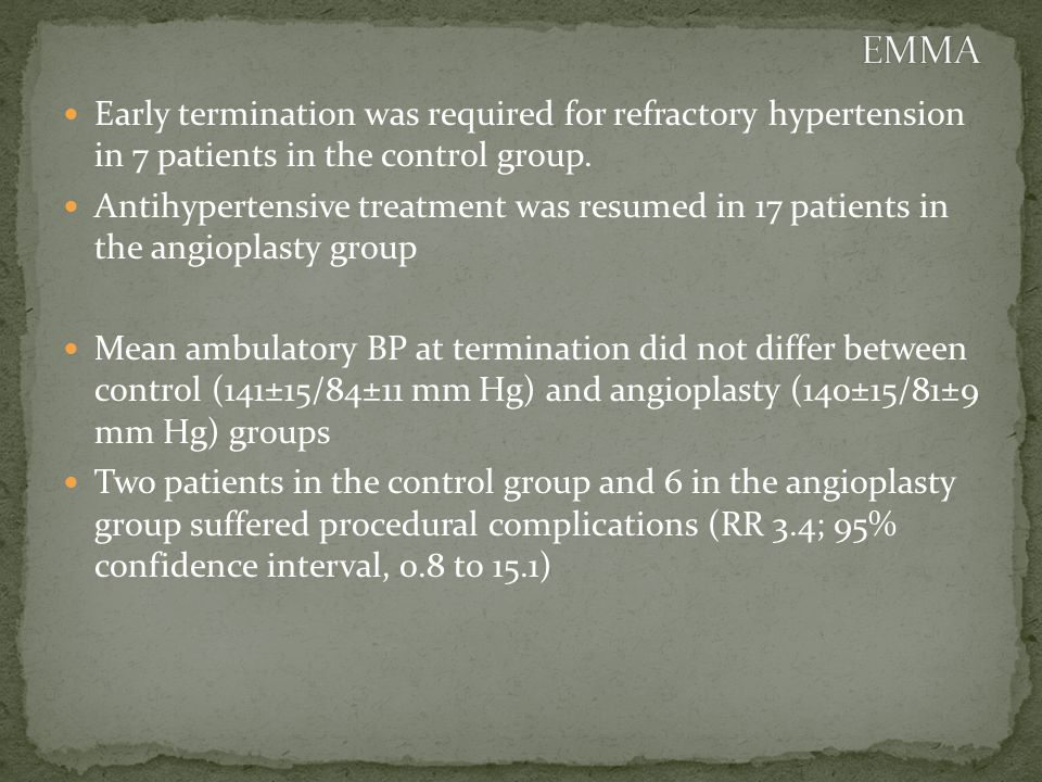 Early termination was required for refractory hypertension in 7 patients in the control group.