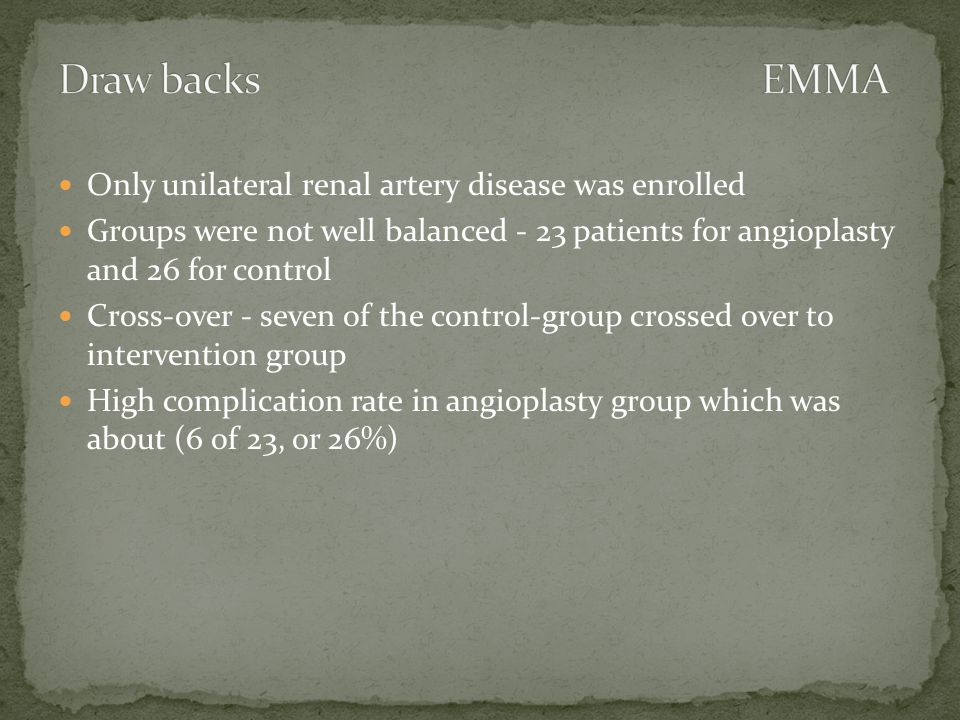 Only unilateral renal artery disease was enrolled Groups were not well balanced - 23 patients for angioplasty and 26 for control Cross-over - seven of the control-group crossed over to intervention group High complication rate in angioplasty group which was about (6 of 23, or 26%)