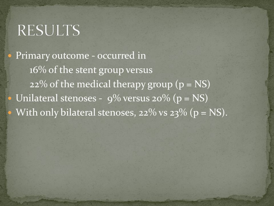 Primary outcome - occurred in 16% of the stent group versus 22% of the medical therapy group (p = NS) Unilateral stenoses - 9% versus 20% (p = NS) With only bilateral stenoses, 22% vs 23% (p = NS).