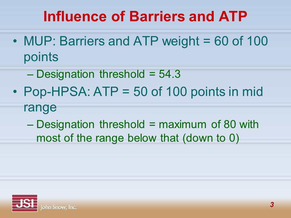 3 Influence of Barriers and ATP MUP: Barriers and ATP weight = 60 of 100 points –Designation threshold = 54.3 Pop-HPSA: ATP = 50 of 100 points in mid