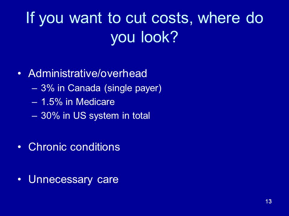 13 If you want to cut costs, where do you look.