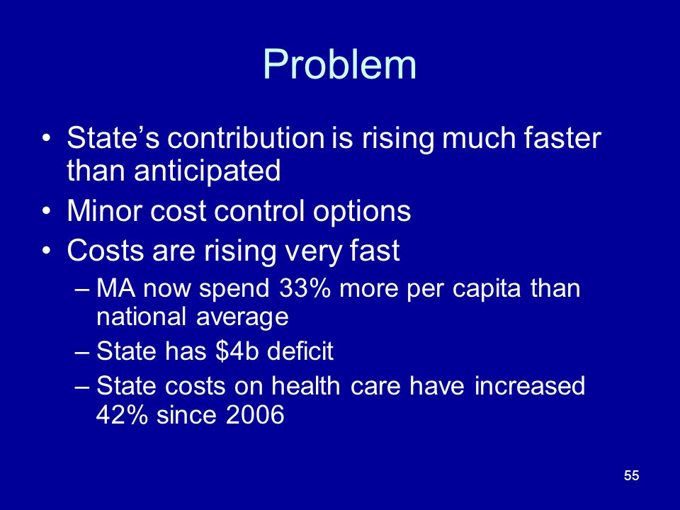 55 Problem State's contribution is rising much faster than anticipated Minor cost control options Costs are rising very fast –MA now spend 33% more per capita than national average –State has $4b deficit –State costs on health care have increased 42% since 2006
