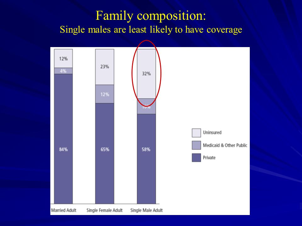 Family composition: Single males are least likely to have coverage