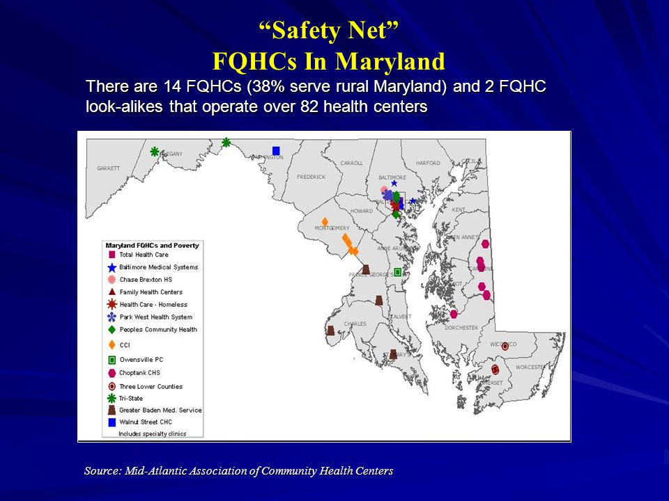 Safety Net FQHCs In Maryland Source: Mid-Atlantic Association of Community Health Centers There are 14 FQHCs (38% serve rural Maryland) and 2 FQHC look-alikes that operate over 82 health centers
