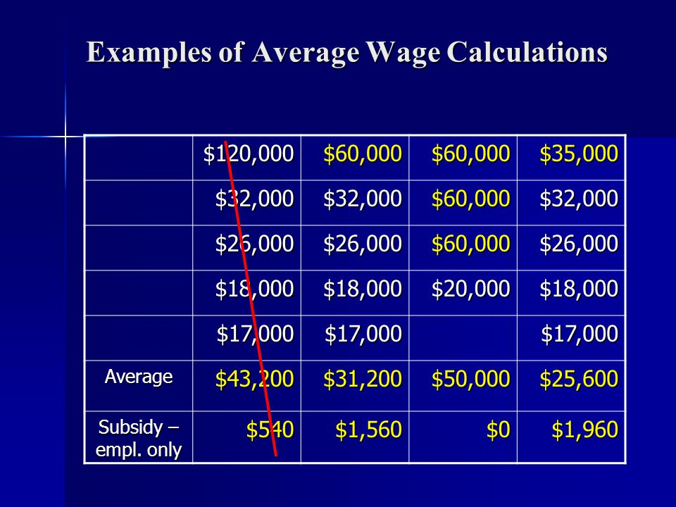 Examples of Average Wage Calculations $120,000$60,000$60,000$35,000 $32,000$32,000$60,000$32,000 $26,000$26,000$60,000$26,000 $18,000$18,000$20,000$18,000 $17,000$17,000$17,000 Average$43,200$31,200$50,000$25,600 Subsidy – empl.