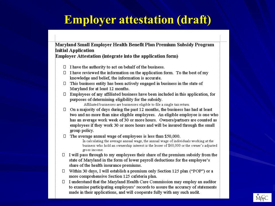 Employer attestation (draft)